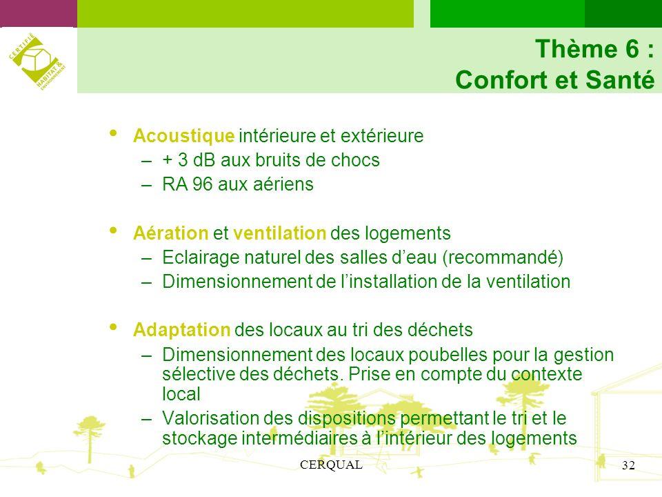 CERQUAL 32 Thème 6 : Confort et Santé Acoustique intérieure et extérieure –+ 3 dB aux bruits de chocs –RA 96 aux aériens Aération et ventilation des l