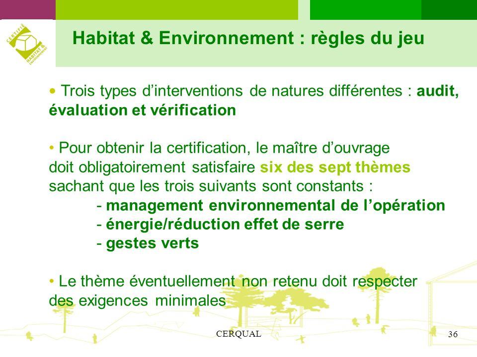 CERQUAL 36 Habitat & Environnement : règles du jeu Trois types dinterventions de natures différentes : audit, évaluation et vérification Pour obtenir