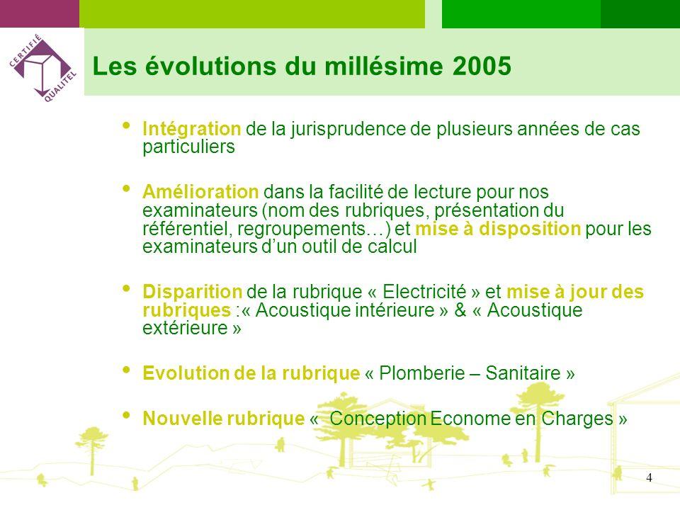 4 Les évolutions du millésime 2005 Intégration de la jurisprudence de plusieurs années de cas particuliers Amélioration dans la facilité de lecture po