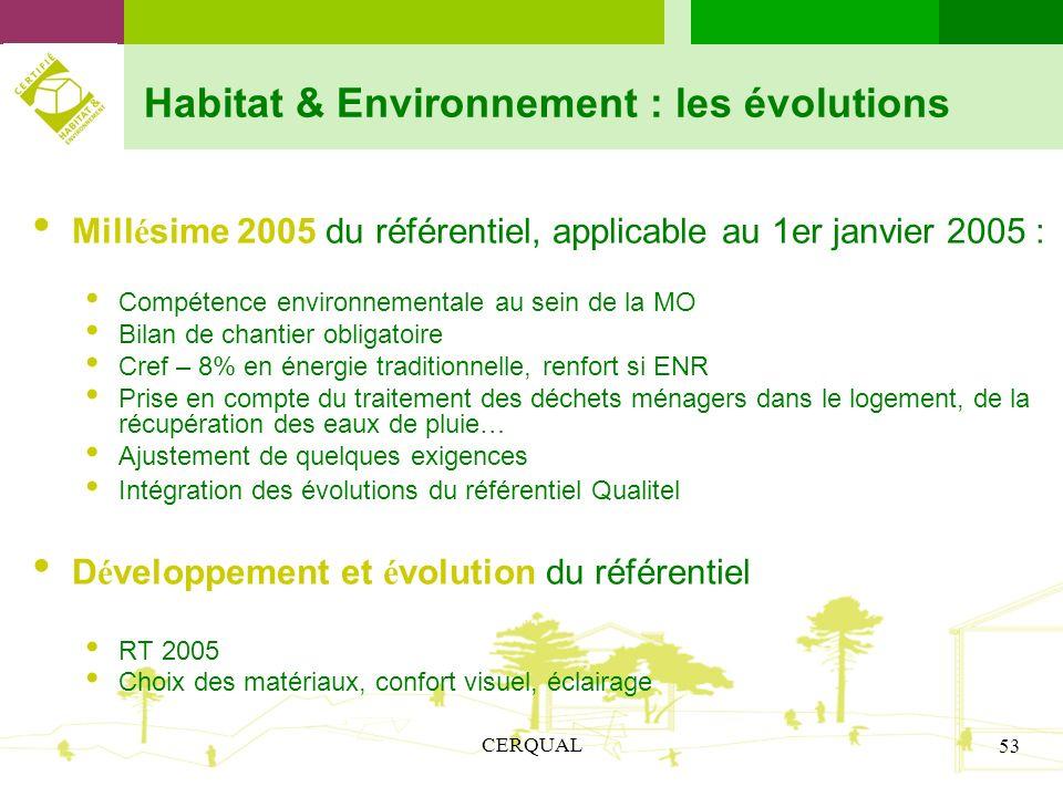CERQUAL 53 Habitat & Environnement : les évolutions Mill é sime 2005 du référentiel, applicable au 1er janvier 2005 : Compétence environnementale au s