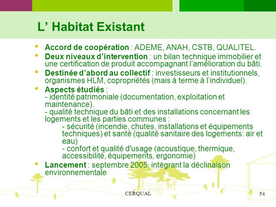 CERQUAL 54 L Habitat Existant Accord de coopération : ADEME, ANAH, CSTB, QUALITEL. Deux niveaux dintervention : un bilan technique immobilier et une c