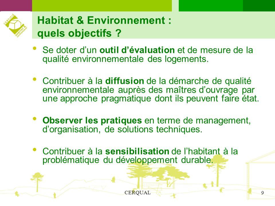 CERQUAL 9 Habitat & Environnement : quels objectifs ? Se doter dun outil dévaluation et de mesure de la qualité environnementale des logements. Contri