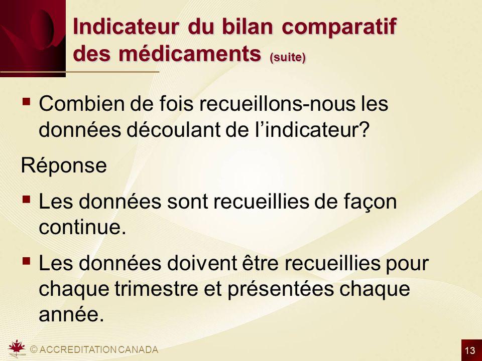 © ACCREDITATION CANADA 13 Indicateur du bilan comparatif des médicaments (suite) Combien de fois recueillons-nous les données découlant de lindicateur.