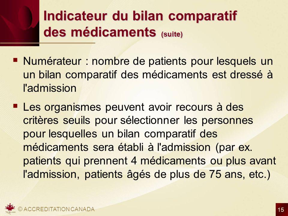 © ACCREDITATION CANADA 15 Indicateur du bilan comparatif des médicaments (suite) Numérateur : nombre de patients pour lesquels un un bilan comparatif