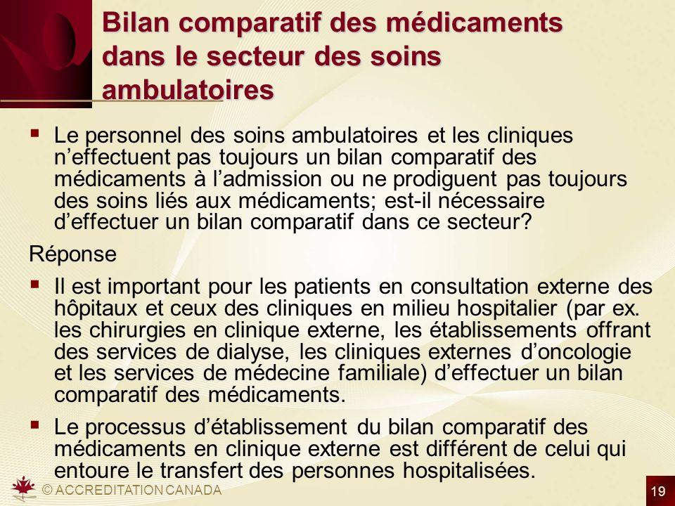 © ACCREDITATION CANADA 19 Bilan comparatif des médicaments dans le secteur des soins ambulatoires Le personnel des soins ambulatoires et les cliniques