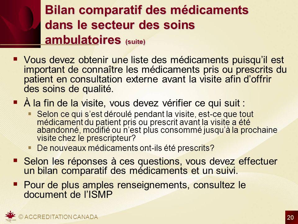 © ACCREDITATION CANADA 20 Bilan comparatif des médicaments dans le secteur des soins ambulatoires (suite) Vous devez obtenir une liste des médicaments