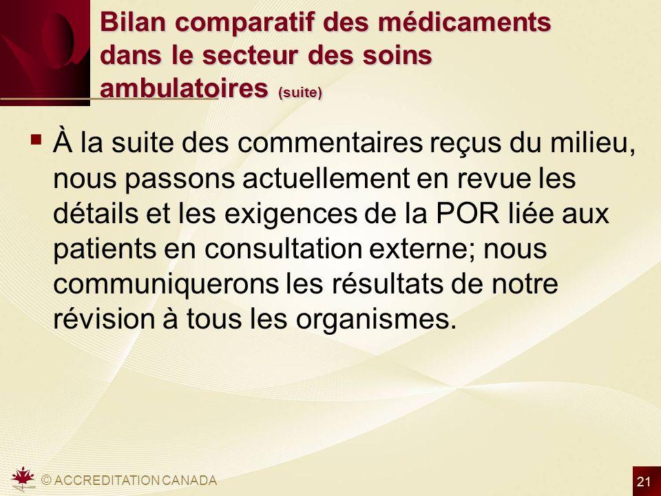 © ACCREDITATION CANADA 21 Bilan comparatif des médicaments dans le secteur des soins ambulatoires (suite) À la suite des commentaires reçus du milieu,