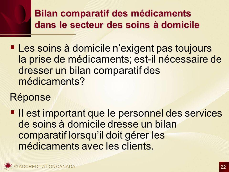 © ACCREDITATION CANADA 22 Bilan comparatif des médicaments dans le secteur des soins à domicile Les soins à domicile nexigent pas toujours la prise de