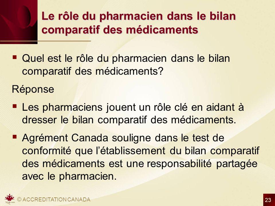 © ACCREDITATION CANADA 23 Le rôle du pharmacien dans le bilan comparatif des médicaments Quel est le rôle du pharmacien dans le bilan comparatif des médicaments.