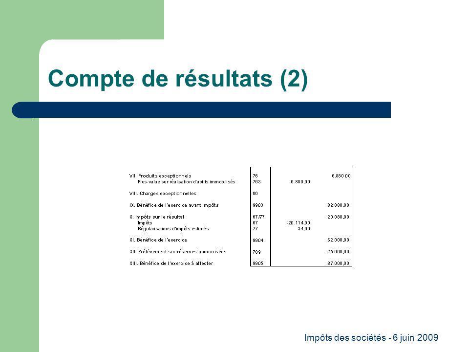 Impôts des sociétés - 6 juin 2009 Compte de résultats (2)