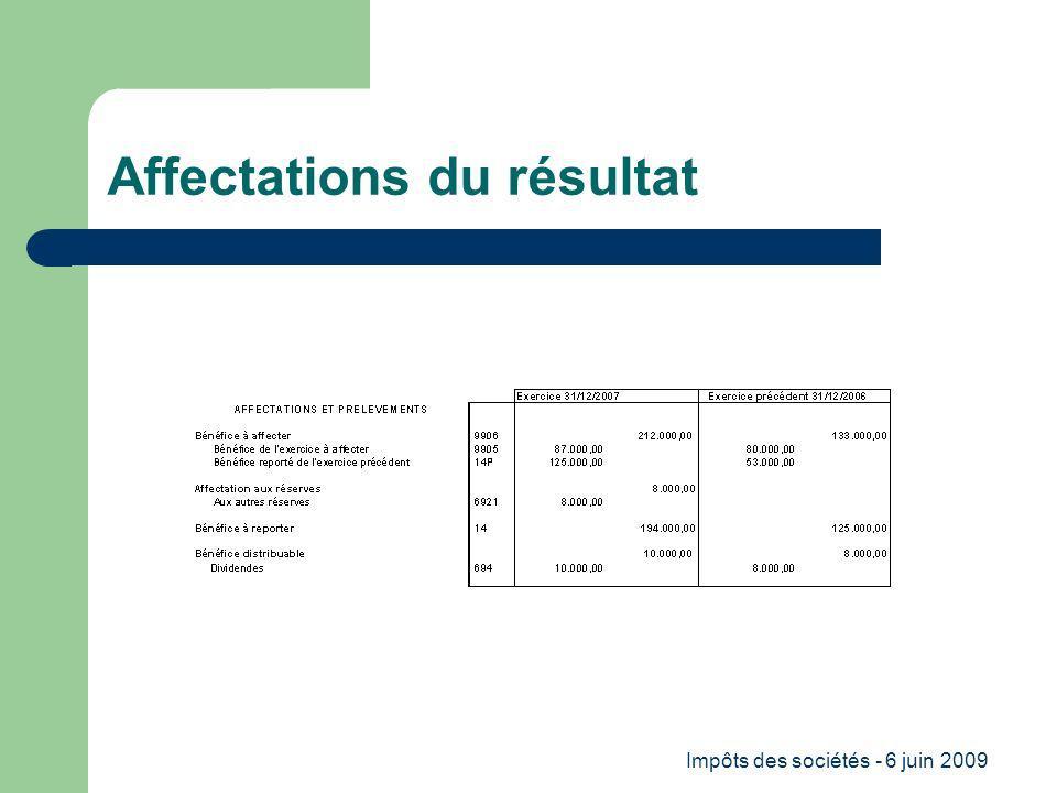 Impôts des sociétés - 6 juin 2009 Affectations du résultat