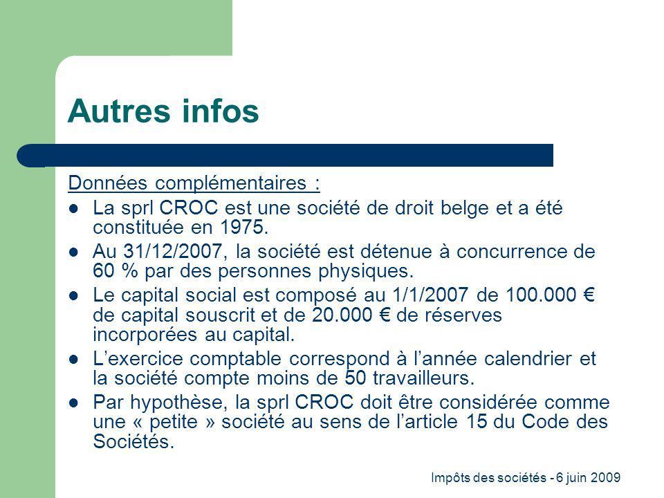 Impôts des sociétés - 6 juin 2009 Autres infos Données complémentaires : La sprl CROC est une société de droit belge et a été constituée en 1975.