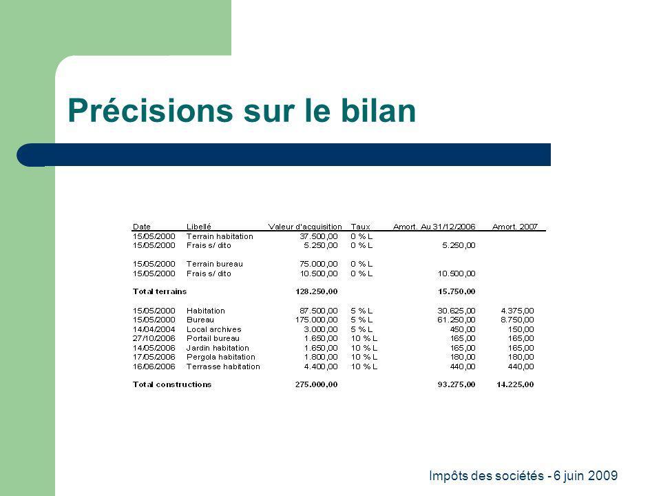Impôts des sociétés - 6 juin 2009 Précisions sur le bilan