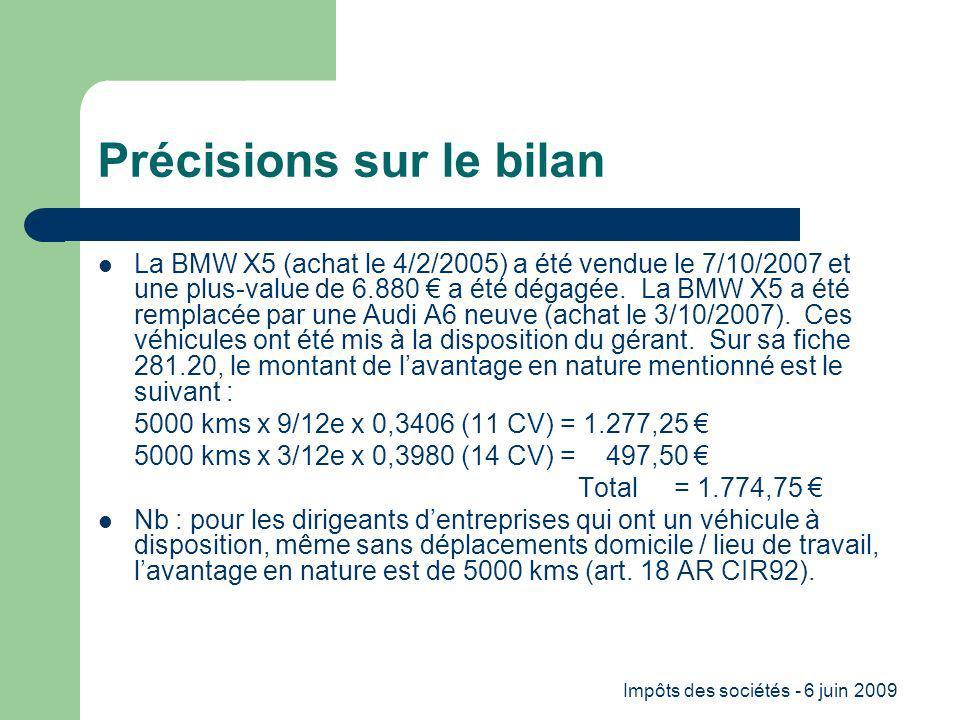 Impôts des sociétés - 6 juin 2009 Précisions sur le bilan La BMW X5 (achat le 4/2/2005) a été vendue le 7/10/2007 et une plus-value de 6.880 a été dégagée.