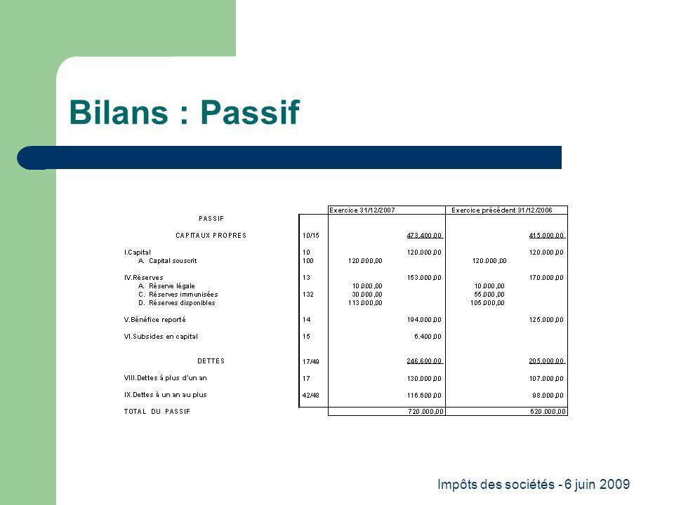 Impôts des sociétés - 6 juin 2009 Bilans : Passif