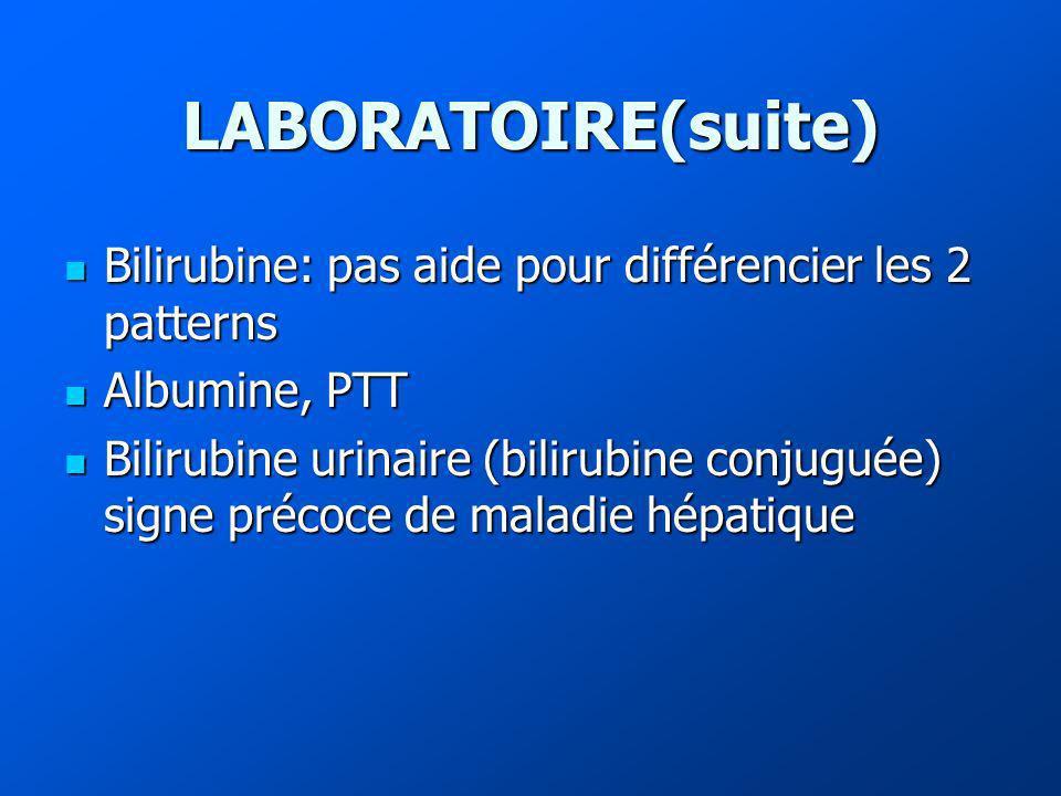 LABORATOIRE(suite) Bilirubine: pas aide pour différencier les 2 patterns Bilirubine: pas aide pour différencier les 2 patterns Albumine, PTT Albumine, PTT Bilirubine urinaire (bilirubine conjuguée) signe précoce de maladie hépatique Bilirubine urinaire (bilirubine conjuguée) signe précoce de maladie hépatique