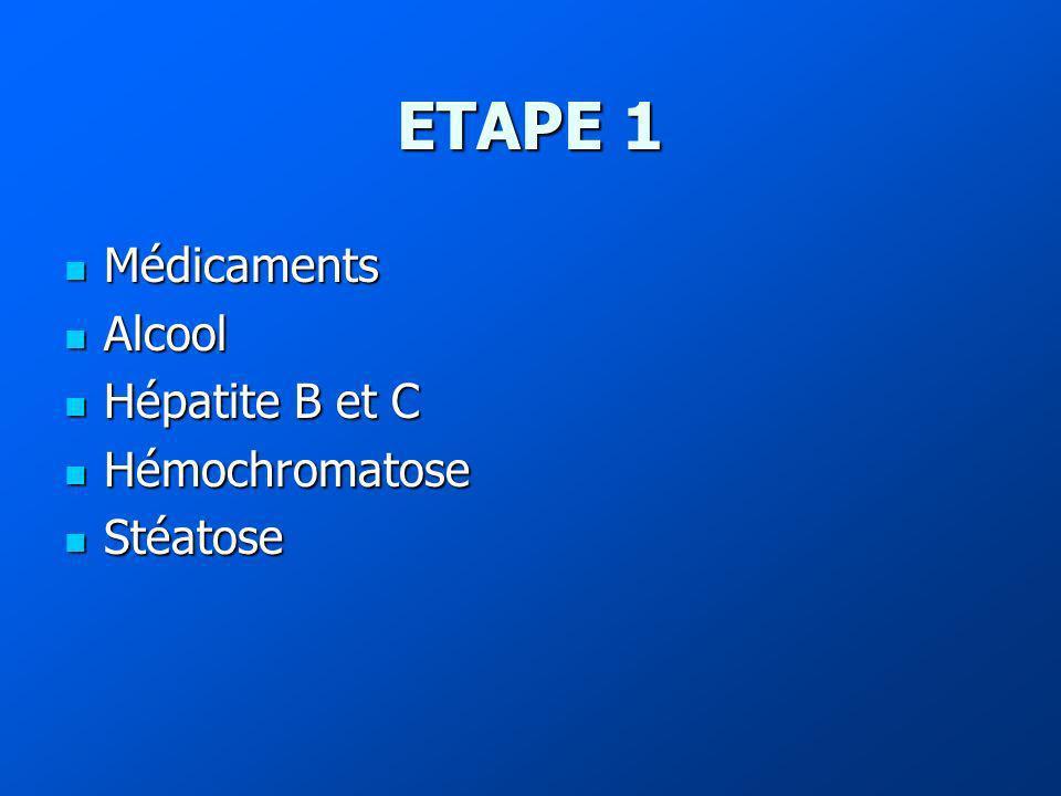 ETAPE 1 Médicaments Médicaments Alcool Alcool Hépatite B et C Hépatite B et C Hémochromatose Hémochromatose Stéatose Stéatose