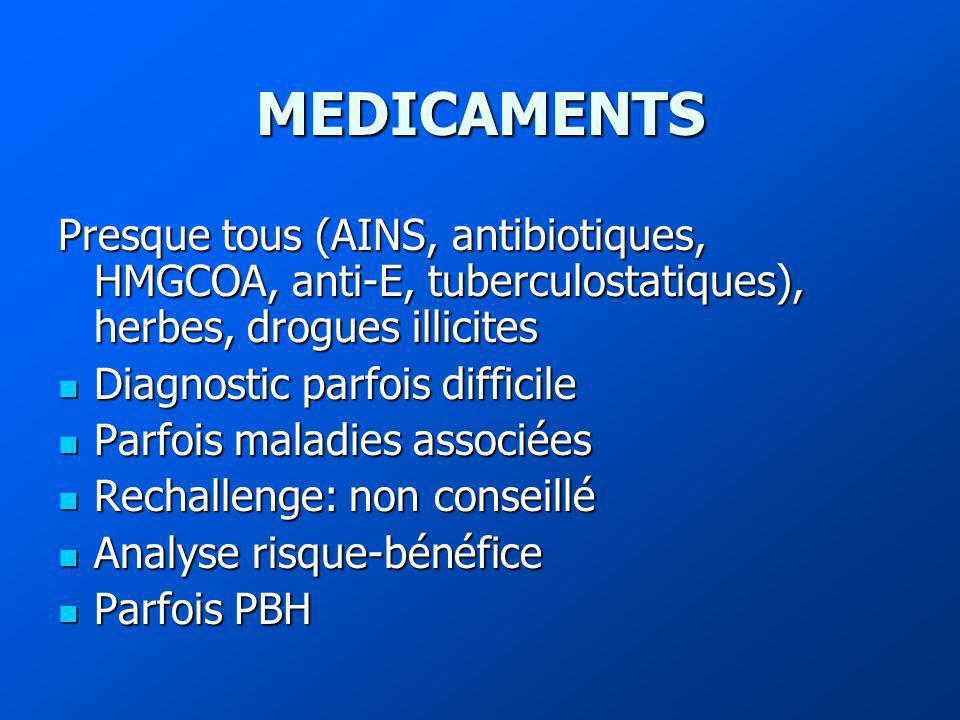 MEDICAMENTS Presque tous (AINS, antibiotiques, HMGCOA, anti-E, tuberculostatiques), herbes, drogues illicites Diagnostic parfois difficile Diagnostic