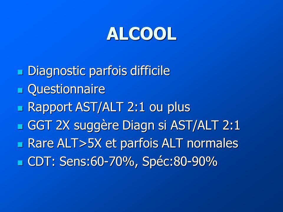 ALCOOL Diagnostic parfois difficile Diagnostic parfois difficile Questionnaire Questionnaire Rapport AST/ALT 2:1 ou plus Rapport AST/ALT 2:1 ou plus GGT 2X suggère Diagn si AST/ALT 2:1 GGT 2X suggère Diagn si AST/ALT 2:1 Rare ALT>5X et parfois ALT normales Rare ALT>5X et parfois ALT normales CDT: Sens:60-70%, Spéc:80-90% CDT: Sens:60-70%, Spéc:80-90%