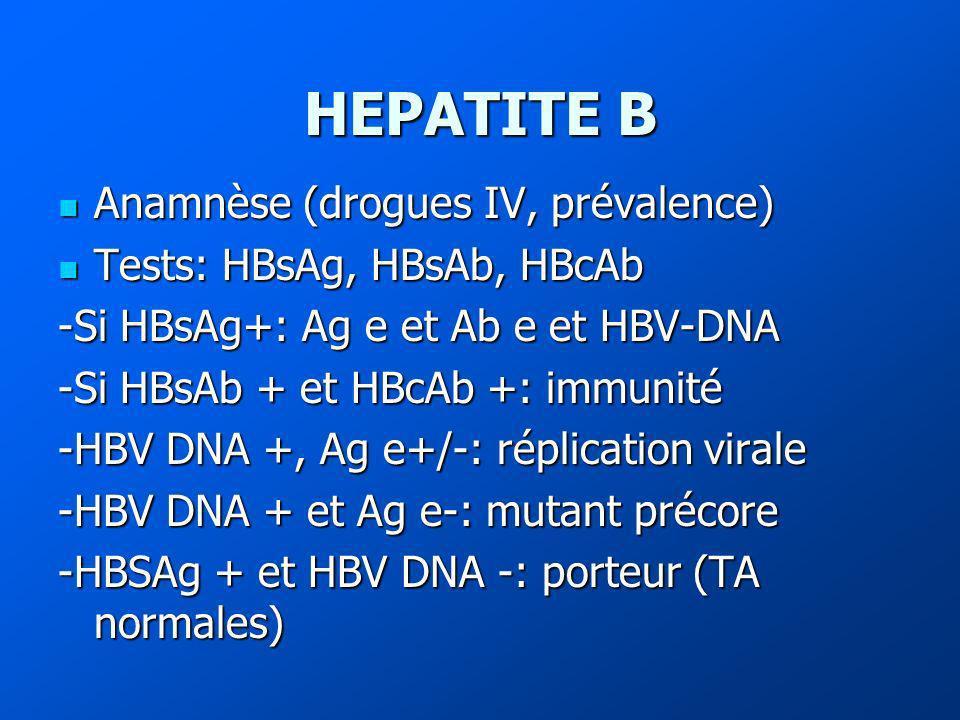 HEPATITE B Anamnèse (drogues IV, prévalence) Anamnèse (drogues IV, prévalence) Tests: HBsAg, HBsAb, HBcAb Tests: HBsAg, HBsAb, HBcAb -Si HBsAg+: Ag e et Ab e et HBV-DNA -Si HBsAb + et HBcAb +: immunité -HBV DNA +, Ag e+/-: réplication virale -HBV DNA + et Ag e-: mutant précore -HBSAg + et HBV DNA -: porteur (TA normales)