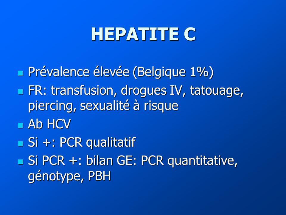 HEPATITE C Prévalence élevée (Belgique 1%) Prévalence élevée (Belgique 1%) FR: transfusion, drogues IV, tatouage, piercing, sexualité à risque FR: transfusion, drogues IV, tatouage, piercing, sexualité à risque Ab HCV Ab HCV Si +: PCR qualitatif Si +: PCR qualitatif Si PCR +: bilan GE: PCR quantitative, génotype, PBH Si PCR +: bilan GE: PCR quantitative, génotype, PBH