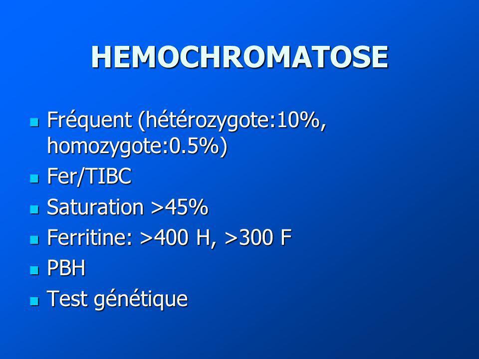 HEMOCHROMATOSE Fréquent (hétérozygote:10%, homozygote:0.5%) Fréquent (hétérozygote:10%, homozygote:0.5%) Fer/TIBC Fer/TIBC Saturation >45% Saturation >45% Ferritine: >400 H, >300 F Ferritine: >400 H, >300 F PBH PBH Test génétique Test génétique