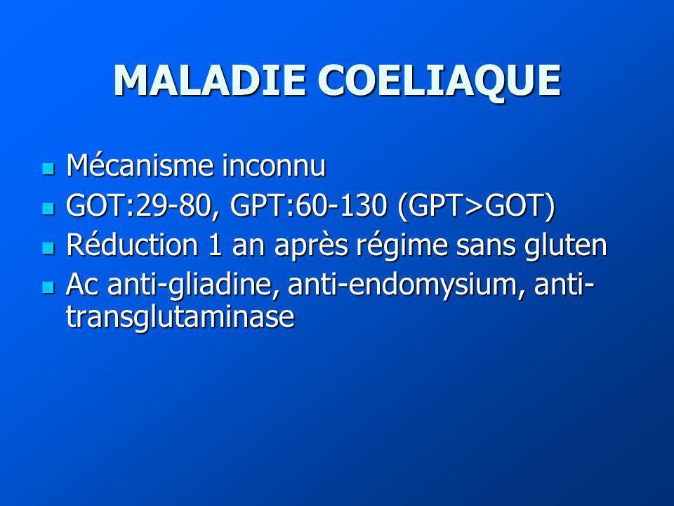 MALADIE COELIAQUE Mécanisme inconnu Mécanisme inconnu GOT:29-80, GPT:60-130 (GPT>GOT) GOT:29-80, GPT:60-130 (GPT>GOT) Réduction 1 an après régime sans gluten Réduction 1 an après régime sans gluten Ac anti-gliadine, anti-endomysium, anti- transglutaminase Ac anti-gliadine, anti-endomysium, anti- transglutaminase