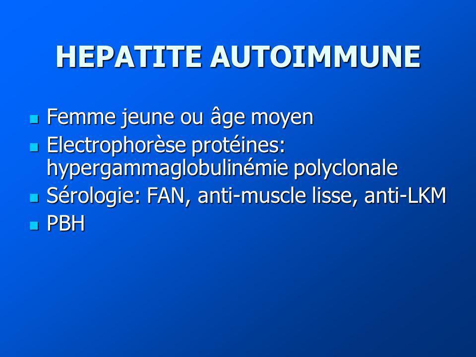 HEPATITE AUTOIMMUNE Femme jeune ou âge moyen Femme jeune ou âge moyen Electrophorèse protéines: hypergammaglobulinémie polyclonale Electrophorèse protéines: hypergammaglobulinémie polyclonale Sérologie: FAN, anti-muscle lisse, anti-LKM Sérologie: FAN, anti-muscle lisse, anti-LKM PBH PBH