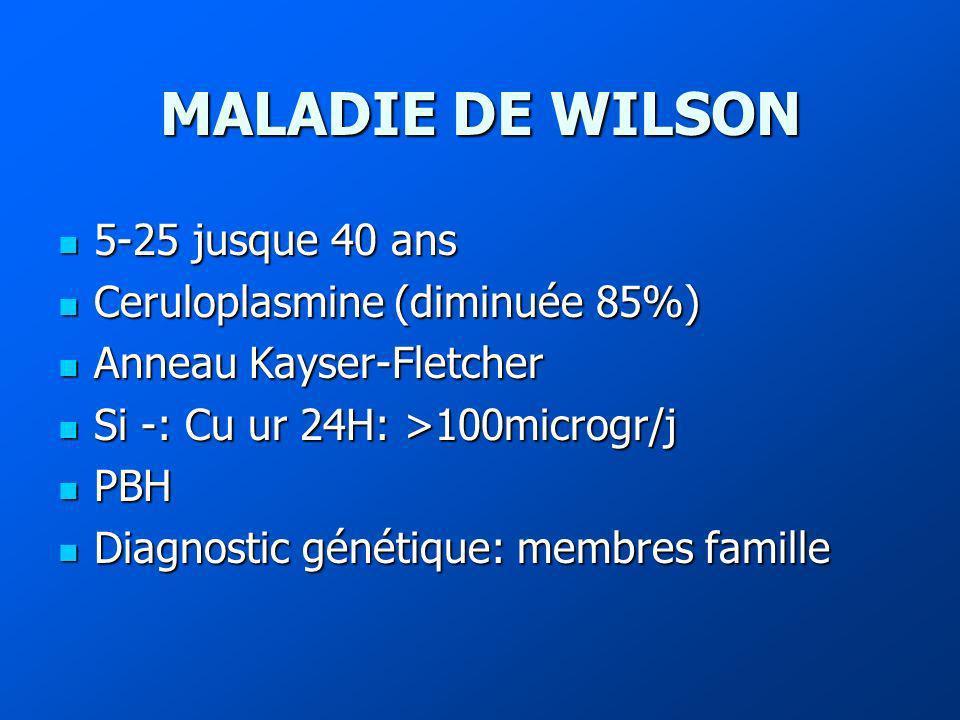 MALADIE DE WILSON 5-25 jusque 40 ans 5-25 jusque 40 ans Ceruloplasmine (diminuée 85%) Ceruloplasmine (diminuée 85%) Anneau Kayser-Fletcher Anneau Kayser-Fletcher Si -: Cu ur 24H: >100microgr/j Si -: Cu ur 24H: >100microgr/j PBH PBH Diagnostic génétique: membres famille Diagnostic génétique: membres famille
