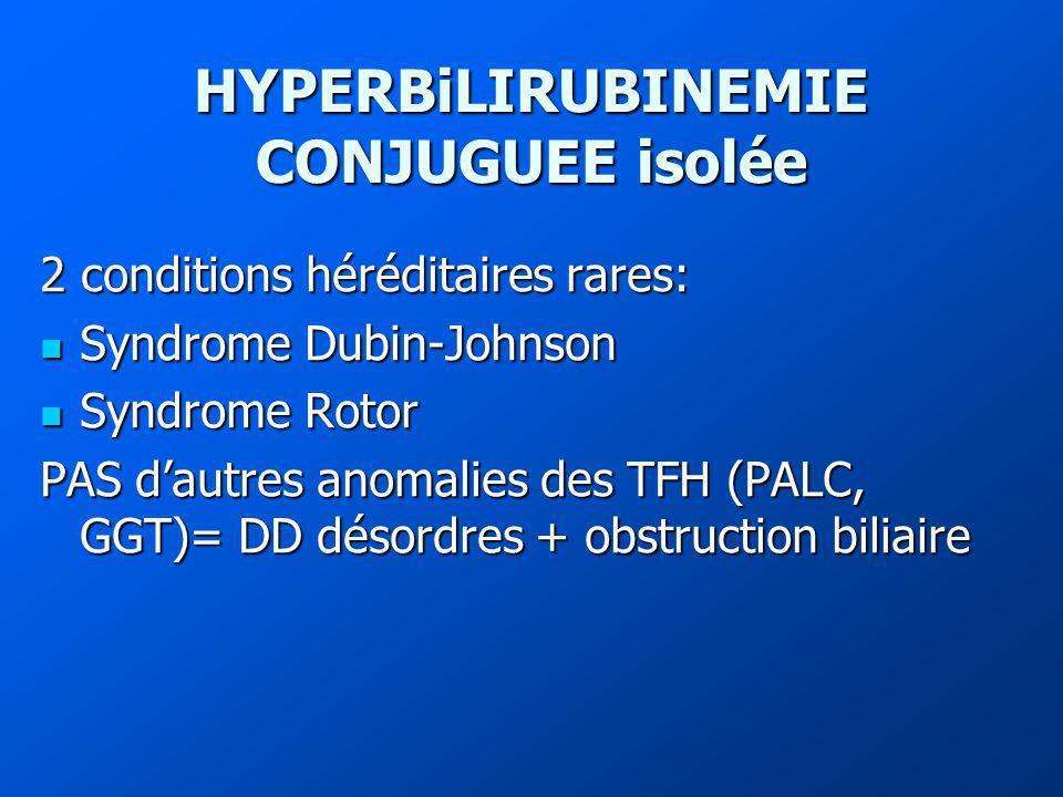HYPERBiLIRUBINEMIE CONJUGUEE isolée 2 conditions héréditaires rares: Syndrome Dubin-Johnson Syndrome Dubin-Johnson Syndrome Rotor Syndrome Rotor PAS dautres anomalies des TFH (PALC, GGT)= DD désordres + obstruction biliaire