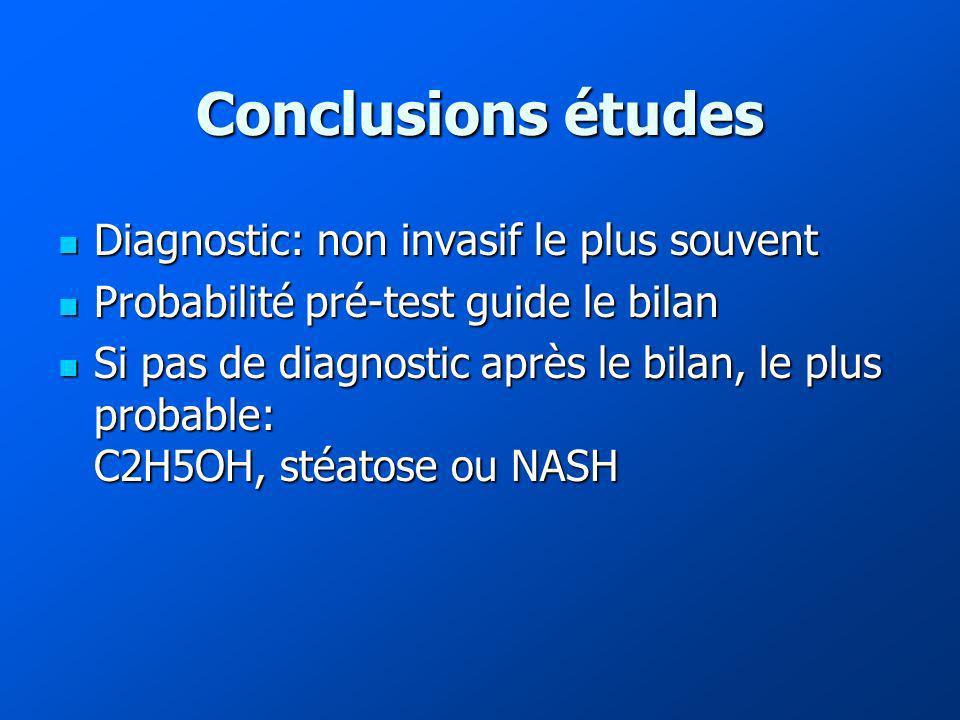 Conclusions études Diagnostic: non invasif le plus souvent Diagnostic: non invasif le plus souvent Probabilité pré-test guide le bilan Probabilité pré