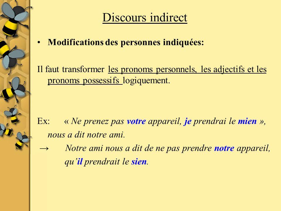 Discours indirect Modifications des personnes indiquées: Il faut transformer les pronoms personnels, les adjectifs et les pronoms possessifs logiqueme