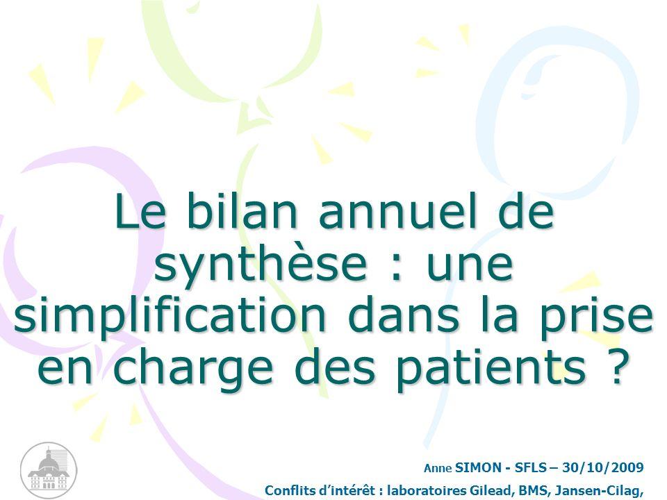 Le bilan annuel de synthèse : une simplification dans la prise en charge des patients ? Anne SIMON - SFLS – 30/10/2009 Conflits dintérêt : laboratoire