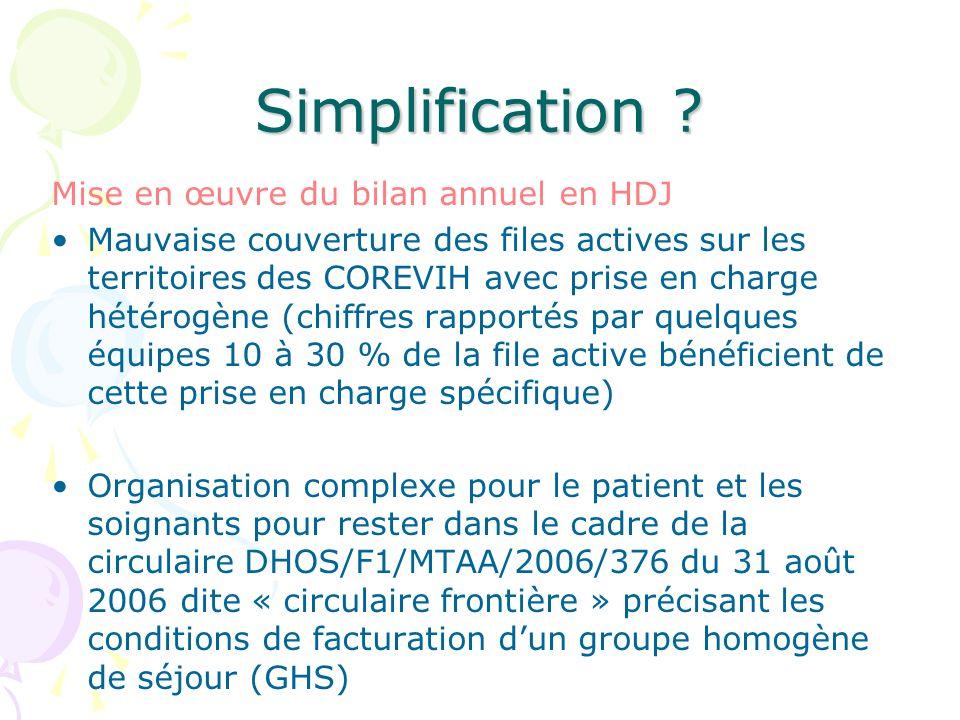 Simplification ? Mise en œuvre du bilan annuel en HDJ Mauvaise couverture des files actives sur les territoires des COREVIH avec prise en charge hétér