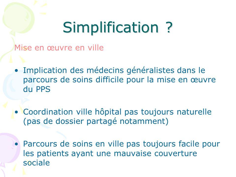 Simplification ? Mise en œuvre en ville Implication des médecins généralistes dans le parcours de soins difficile pour la mise en œuvre du PPS Coordin
