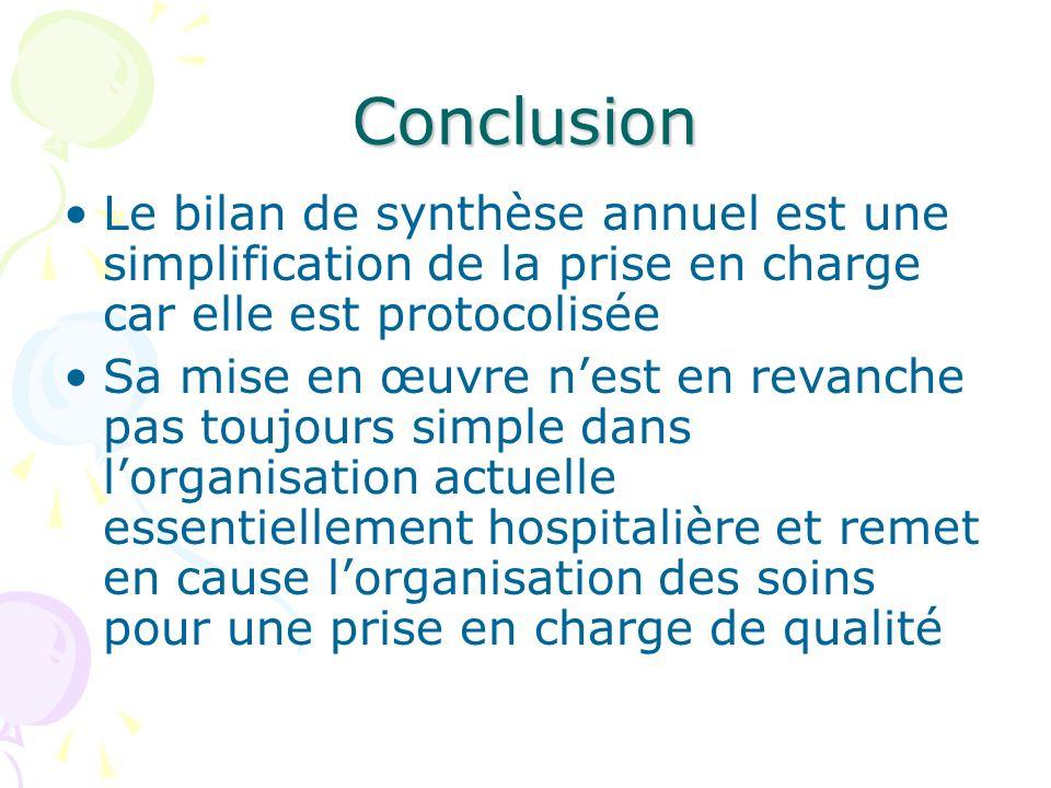 Conclusion Le bilan de synthèse annuel est une simplification de la prise en charge car elle est protocolisée Sa mise en œuvre nest en revanche pas to