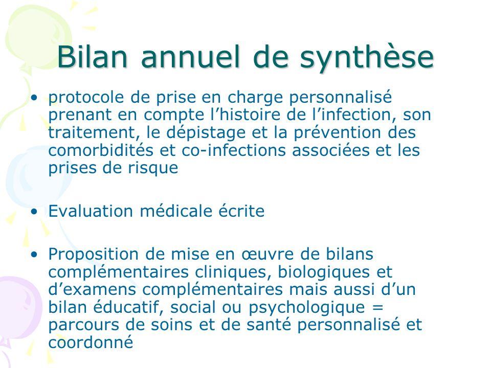 Bilan annuel de synthèse protocole de prise en charge personnalisé prenant en compte lhistoire de linfection, son traitement, le dépistage et la préve