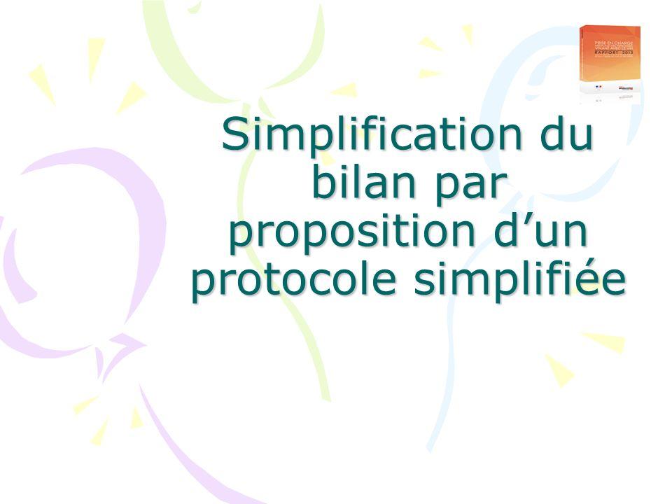 Simplification du bilan par proposition dun protocole simplifiée