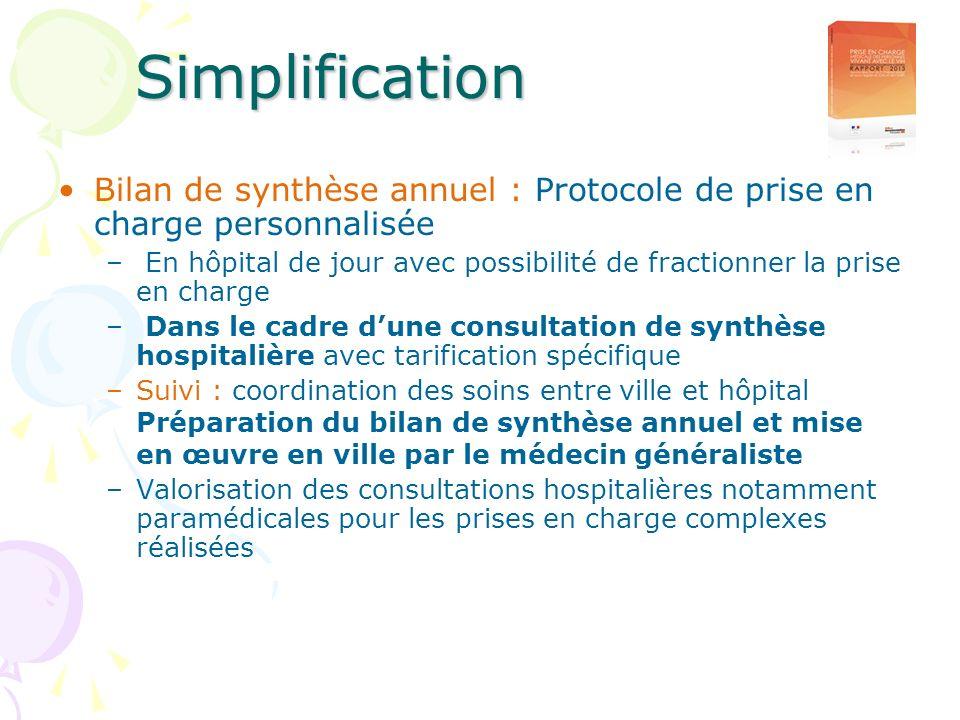 Bilan de synthèse annuel : Protocole de prise en charge personnalisée – En hôpital de jour avec possibilité de fractionner la prise en charge – Dans l