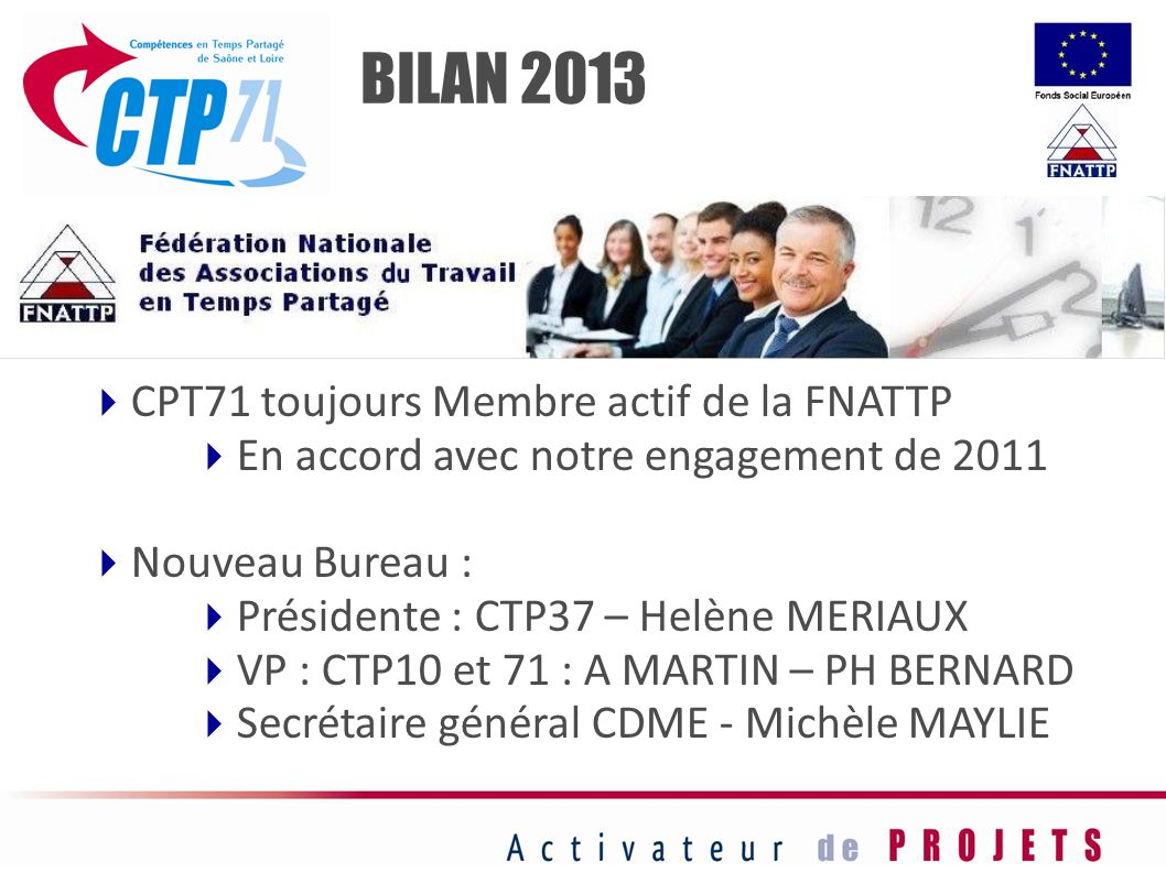 CPT71 toujours Membre actif de la FNATTP En accord avec notre engagement de 2011 Nouveau Bureau : Présidente : CTP37 – Helène MERIAUX VP : CTP10 et 71