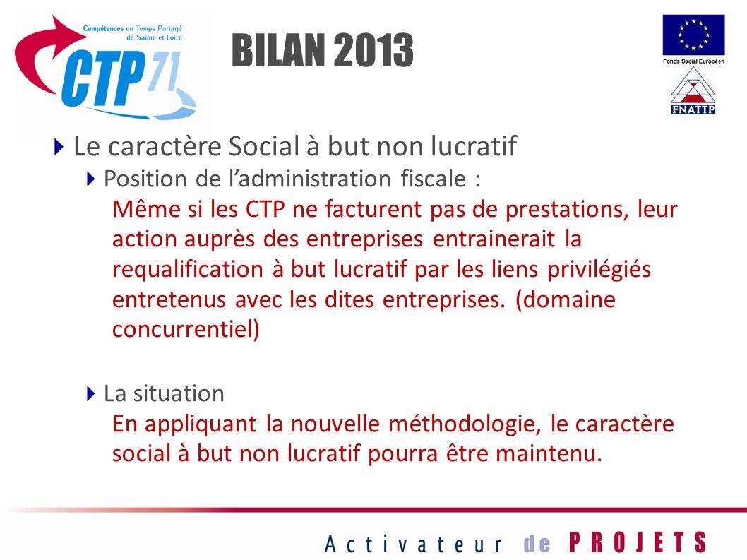 Le caractère Social à but non lucratif Position de ladministration fiscale : Même si les CTP ne facturent pas de prestations, leur action auprès des e