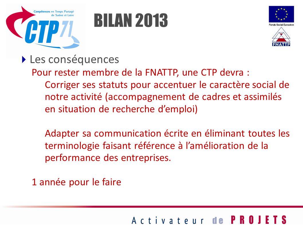 Les conséquences Pour rester membre de la FNATTP, une CTP devra : Corriger ses statuts pour accentuer le caractère social de notre activité (accompagn