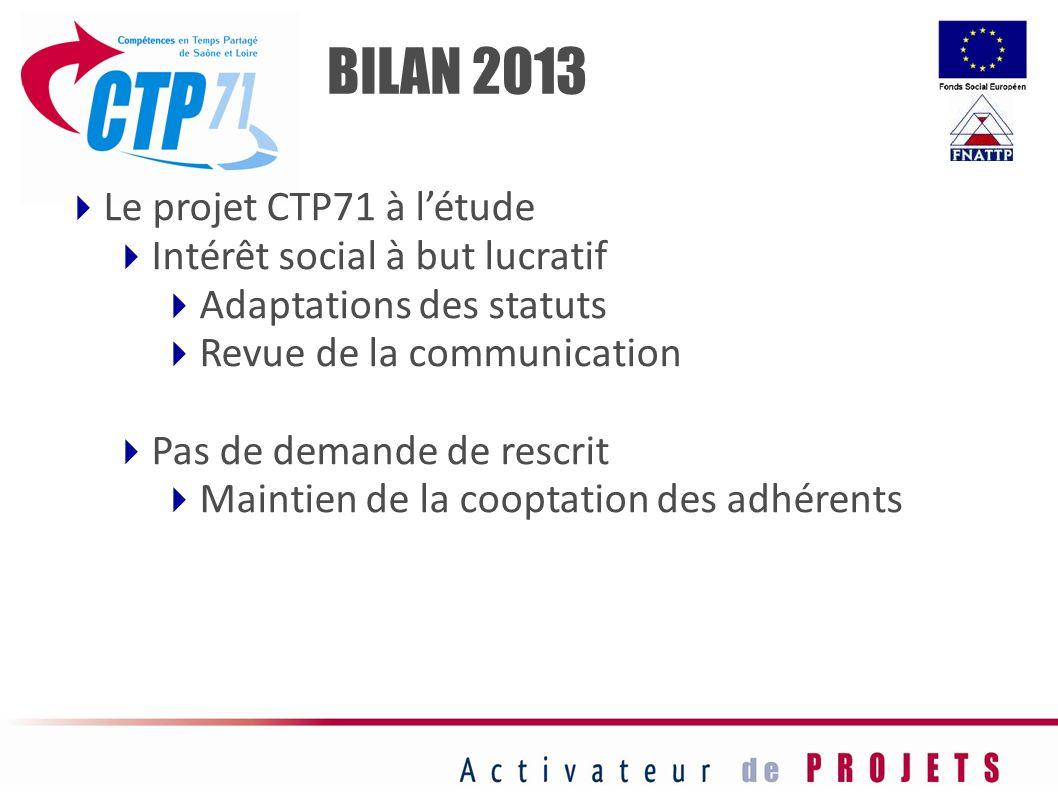 Le projet CTP71 à létude Intérêt social à but lucratif Adaptations des statuts Revue de la communication Pas de demande de rescrit Maintien de la coop