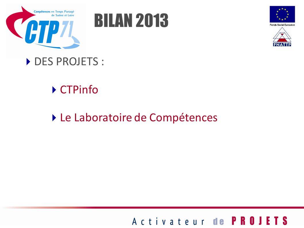 DES PROJETS : CTPinfo Le Laboratoire de Compétences BILAN 2013