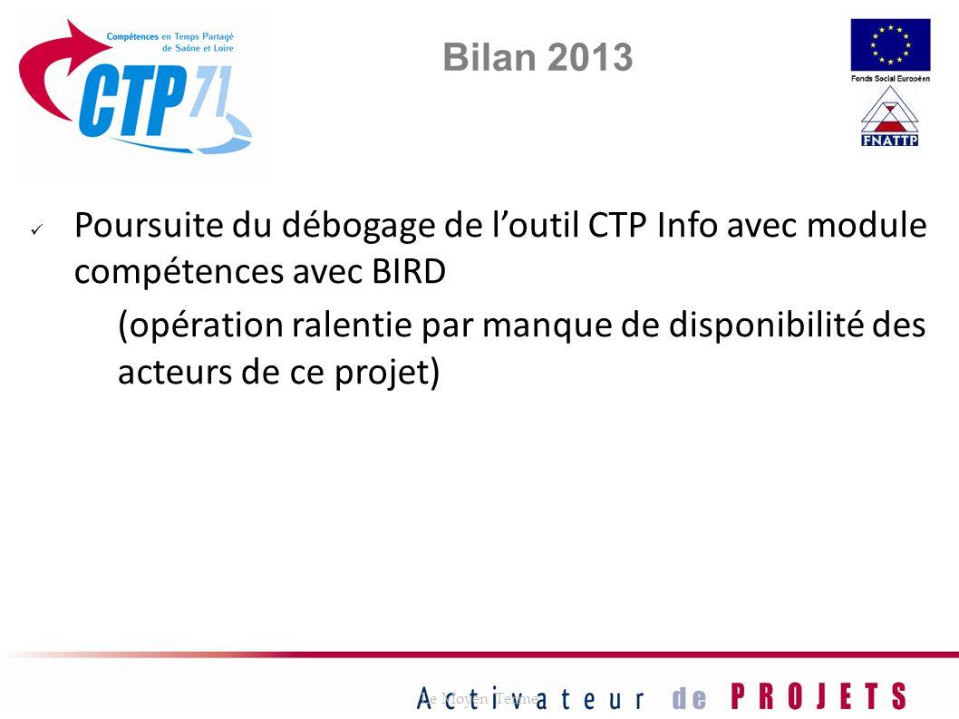 Poursuite du débogage de loutil CTP Info avec module compétences avec BIRD (opération ralentie par manque de disponibilité des acteurs de ce projet) L