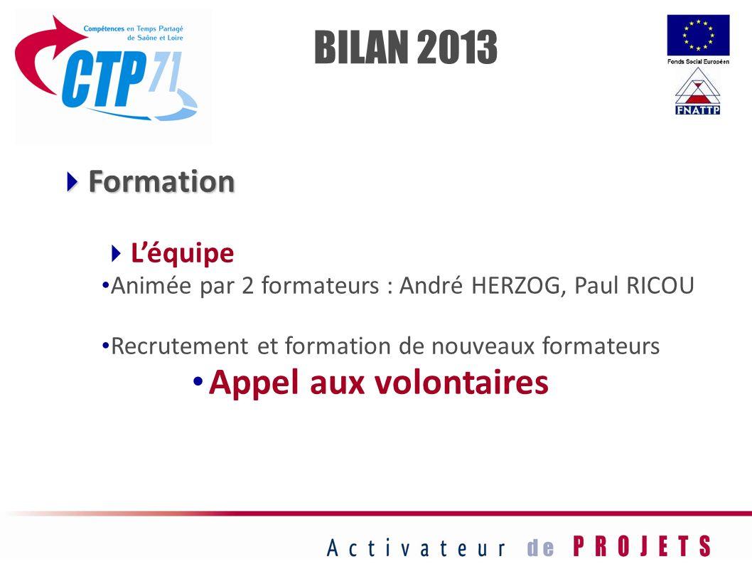 Formation Formation Léquipe Animée par 2 formateurs : André HERZOG, Paul RICOU Recrutement et formation de nouveaux formateurs Appel aux volontaires B