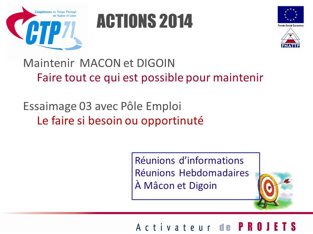 ACTIONS 2014 Maintenir MACON et DIGOIN Faire tout ce qui est possible pour maintenir Essaimage 03 avec Pôle Emploi Le faire si besoin ou opportinuté R