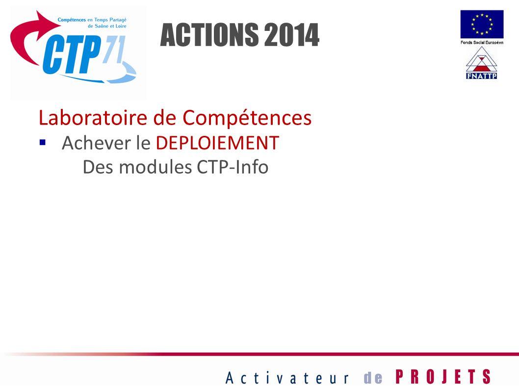 ACTIONS 2014 Laboratoire de Compétences Achever le DEPLOIEMENT Des modules CTP-Info