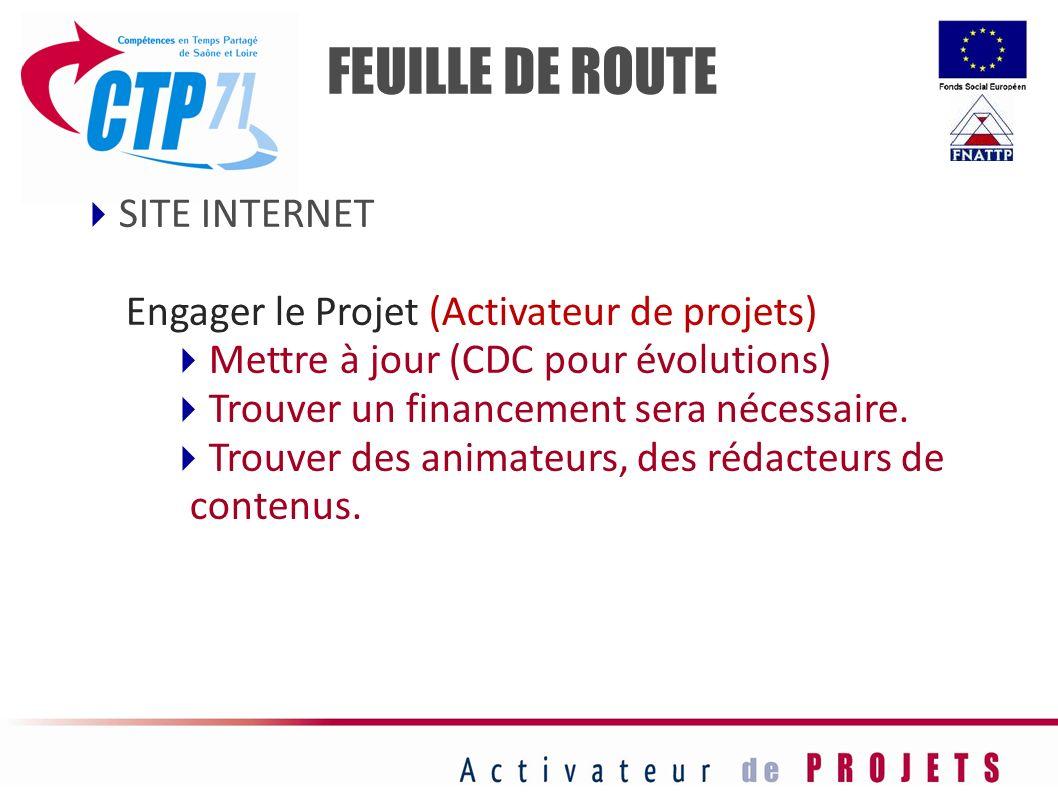 SITE INTERNET Engager le Projet (Activateur de projets) Mettre à jour (CDC pour évolutions) Trouver un financement sera nécessaire. Trouver des animat