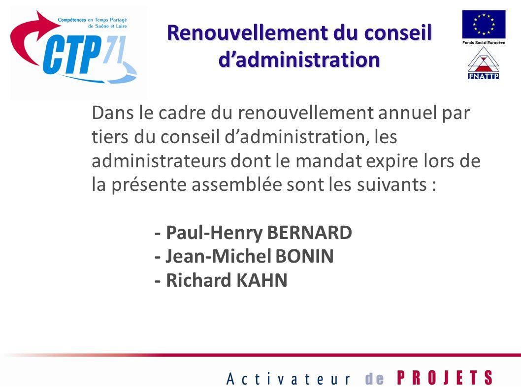 Dans le cadre du renouvellement annuel par tiers du conseil dadministration, les administrateurs dont le mandat expire lors de la présente assemblée s
